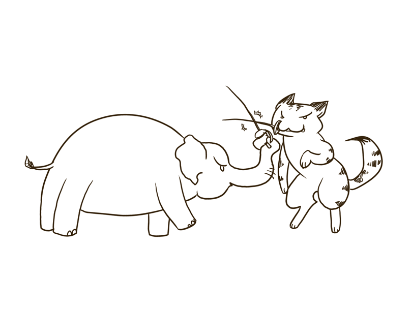 Sketch Elephant vs. Cat